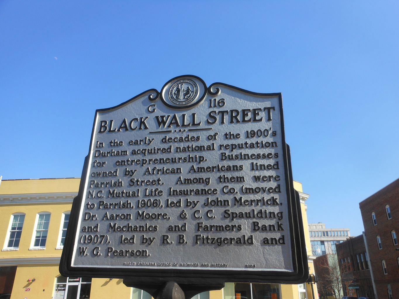 Located on Parrish St., Black Wall Street became the standard for Black achievement in the early 1900s.