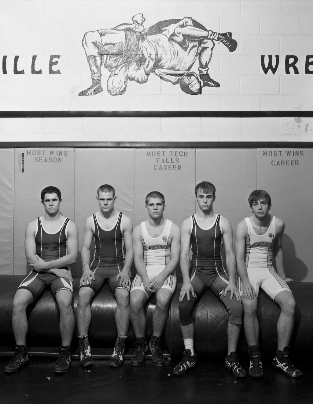 Five Members Of The Boonville Pioneers Wrestling Squad. Boonville,IN. 2008 © Timothy Briner