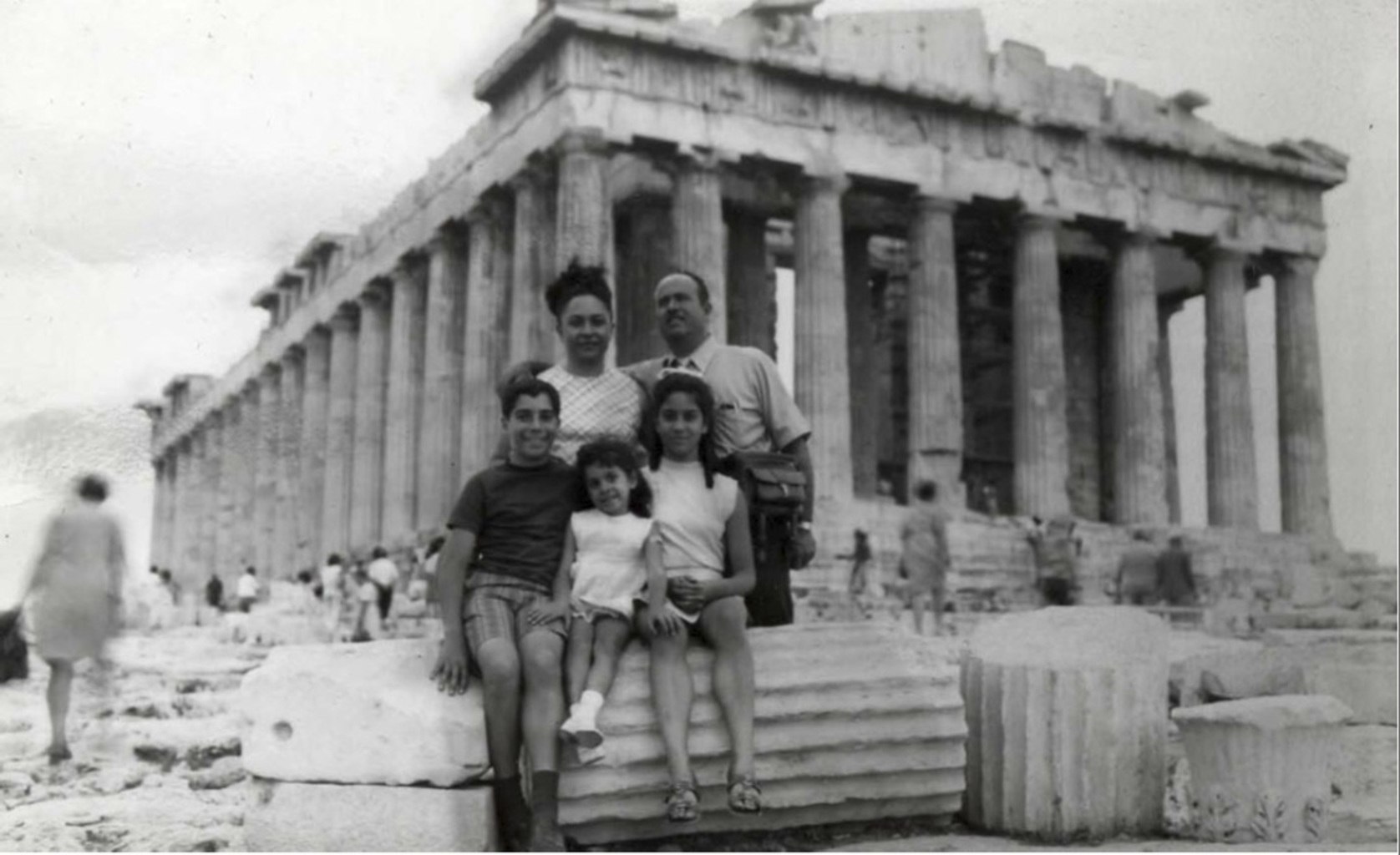 Sambunaris as a child visiting the Parthenon with her family
