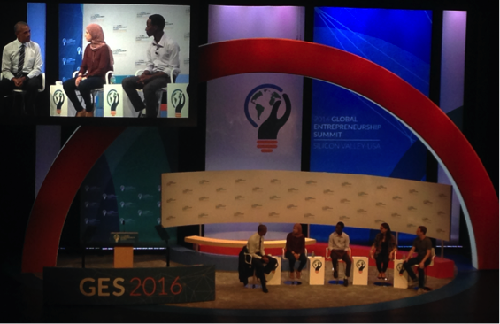 President Obama moderating a conversation with entrepreneurs Mai Medhat, CEO, Eventtus (UAE); Jean Bosco Nzeyimana, CEO, HABONA, LTD (Rwanda); Mariana Costa Checa, CEO, Laboratoria (Peru), and Mark Zuckerberg, Founder, Facebook