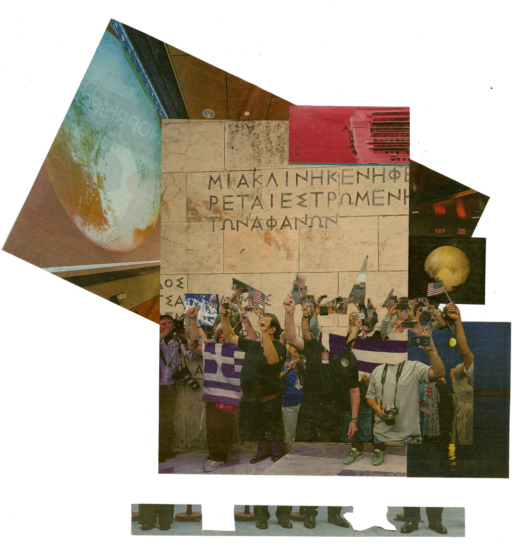 Flags for Greece and Pluto, Svenska Dag- bladet 15th July 2015, Collage, 31 x 31 cm.