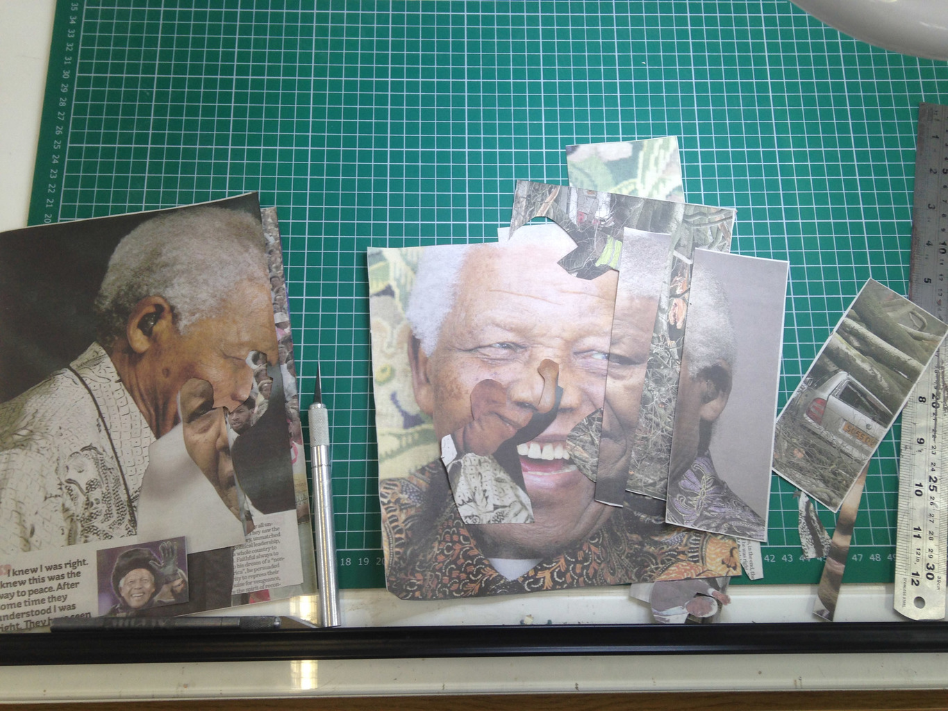 Mandela (work in progress), 2013, Collage, 24 x 17 cm.