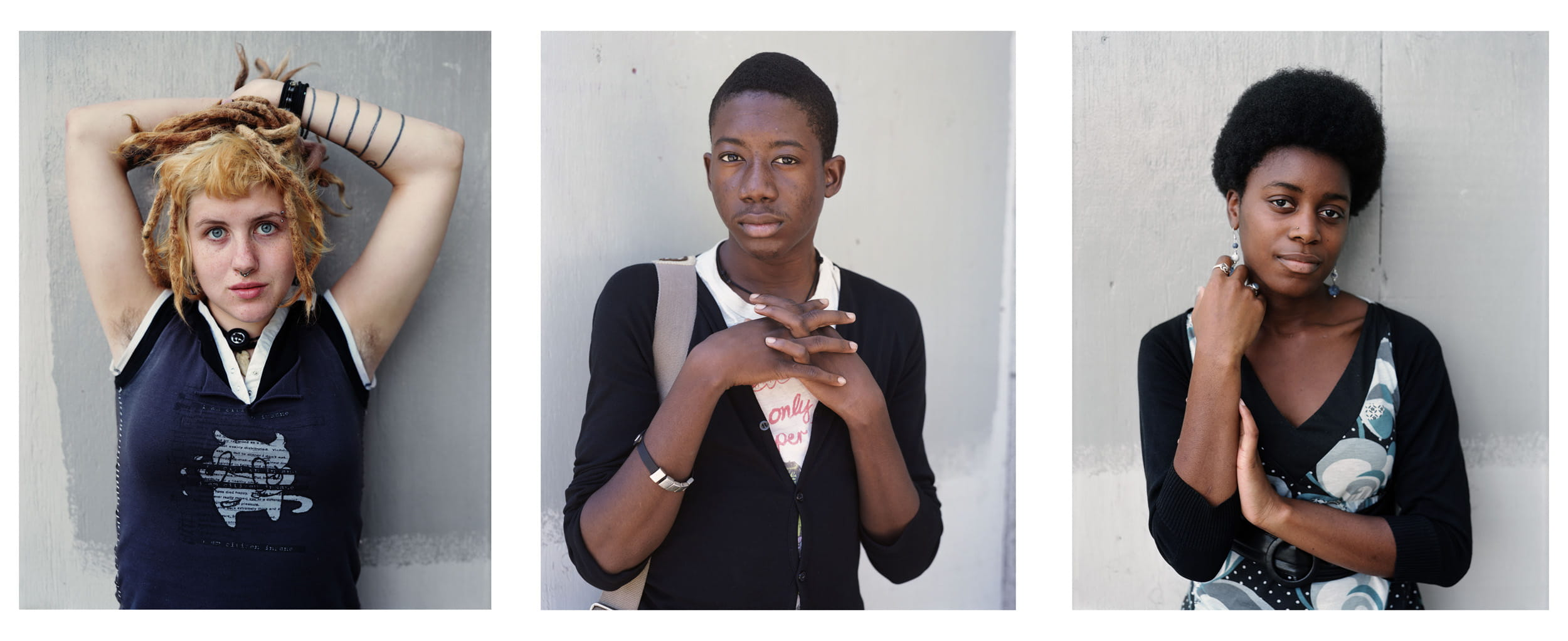 "Three portraits from ""The Character Project,"" 2007 © Dawoud Bey"