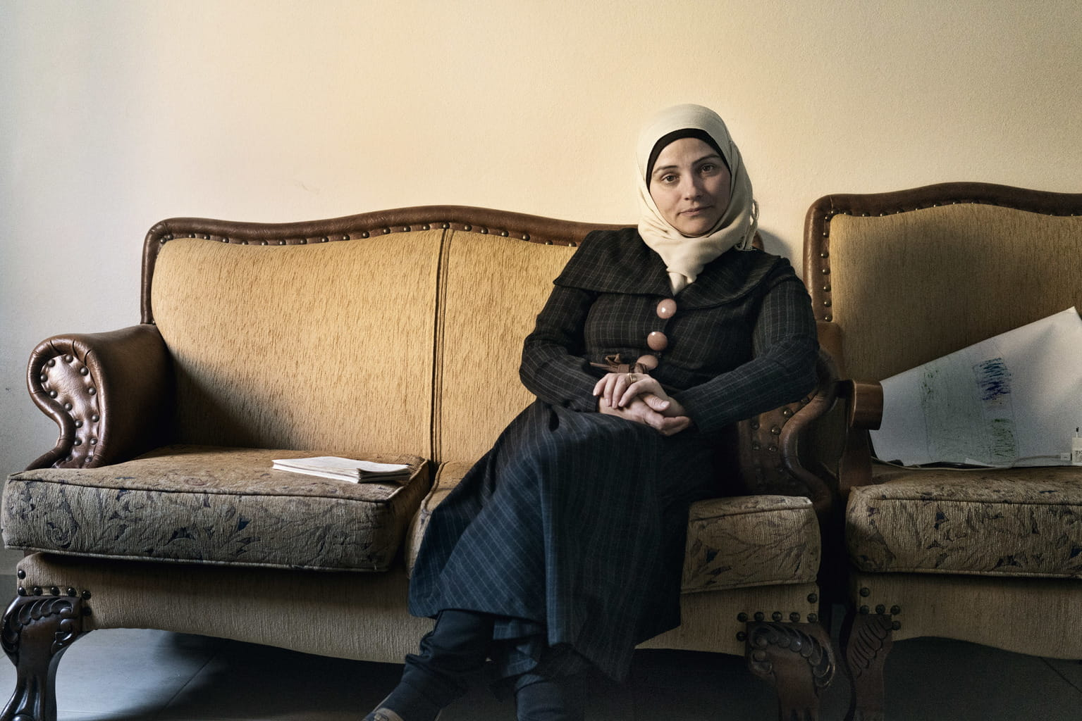 December 4, 2015, Reyhanli, Turkey. Psychologist Mirfat Suleiman, who specializes in Gender Based Violence (GBV) counseling.