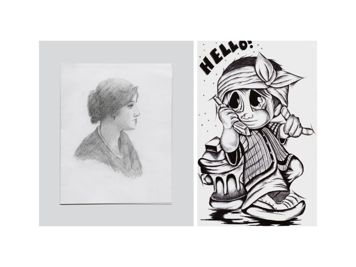 Pencil Sketch of a Woman (left), Ballpoint pen drawing on paper, folded into a card (right)