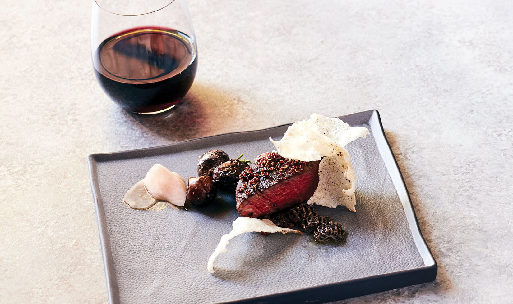 Miso-marinted filet mignon with pickled mushrooms