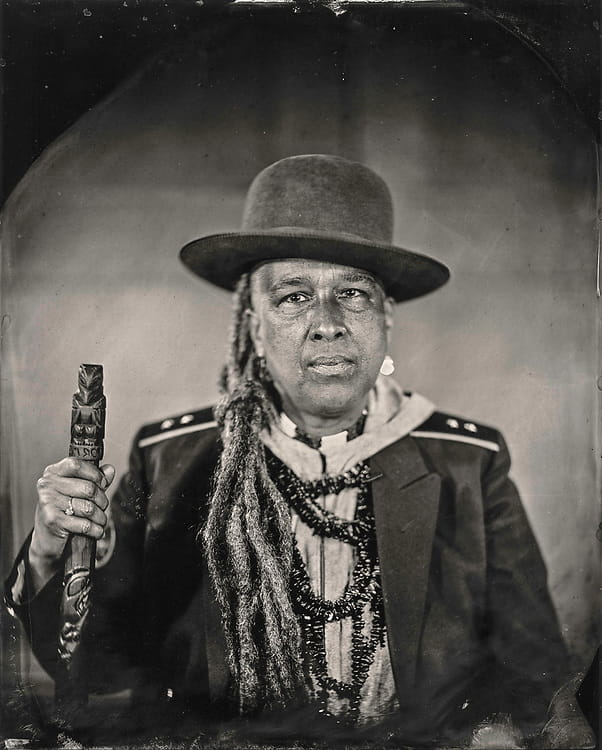 Storme Webber, an artist and poet of Sugpiaq, Black, and Choctaw heritage. Talking Tintype.