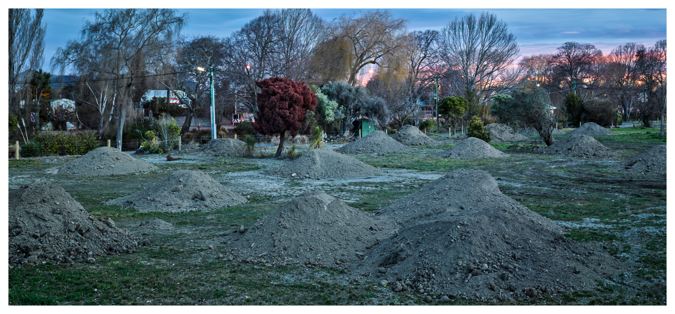 Avonside / Richmond Residential Red Zone, River Road, Christchurch, 2015. New soil for levelling and replanting of cleared land.