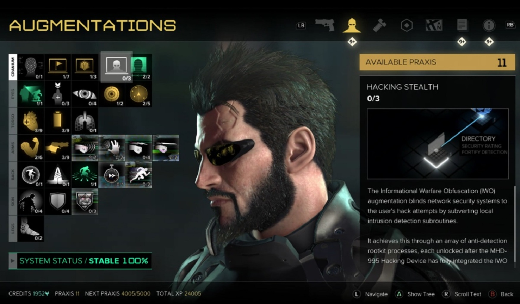 Above: Spend Praxis points wisely on your augs in Deus Ex: Mankind Divided. (Image Credit: Square Enix)