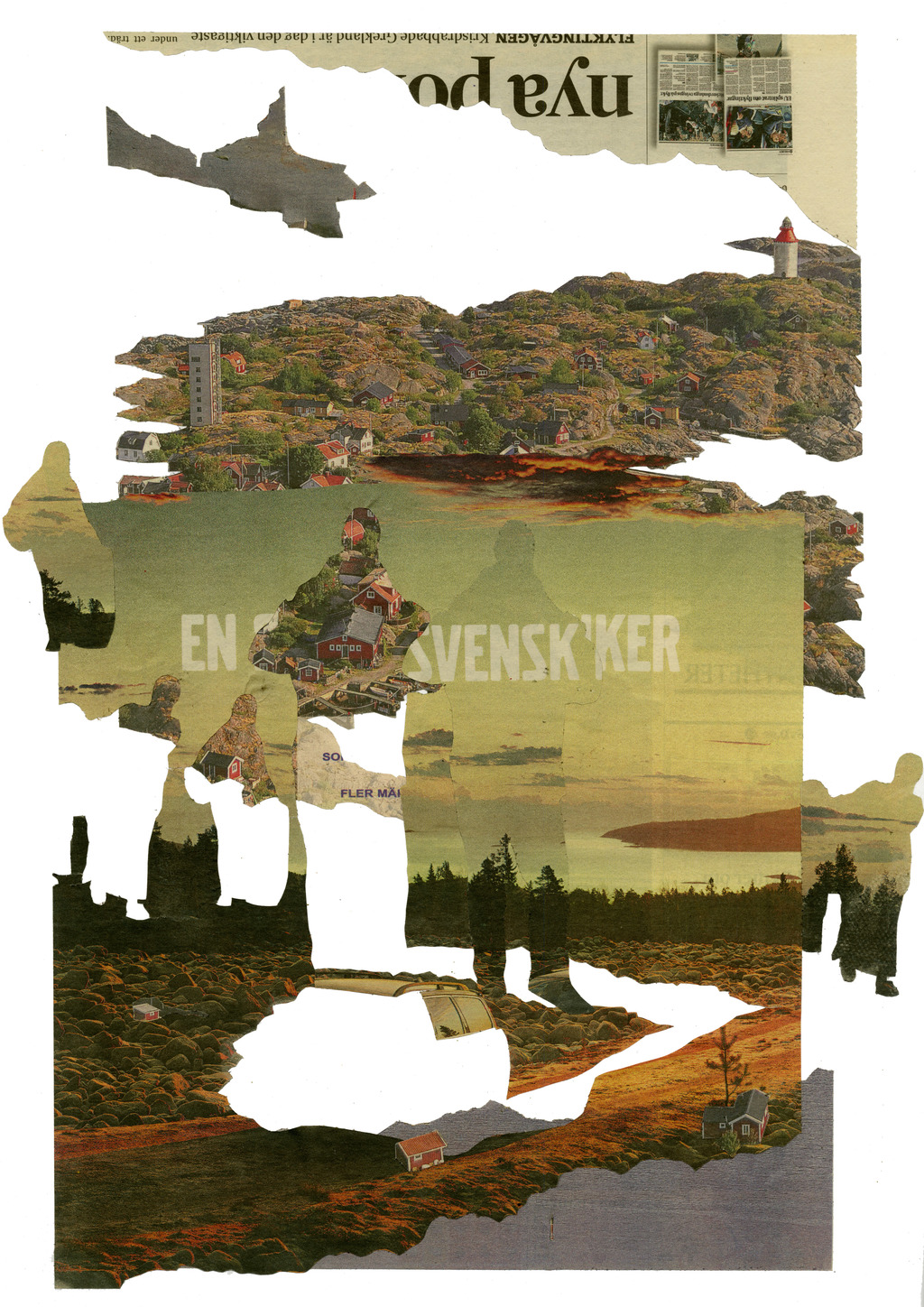 Swedish Landscape and Greek  figures, Svenska Dagbladet, 17th July 2015 Collage, 40 x 30 cm.